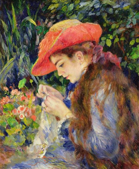 Marie Therese Durand Ruel Sewing Painting By Pierre