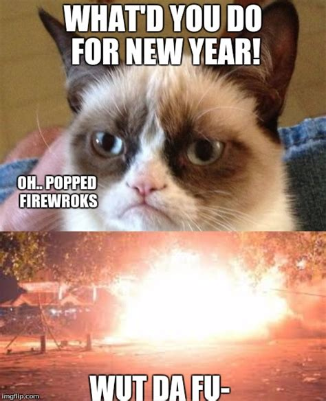 New Cat Memes - grumpy cat new years imgflip