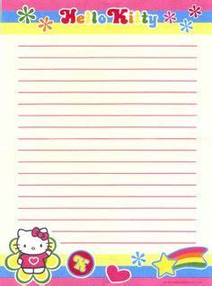 kitty lined stationery  kitty printables