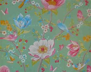 pip studio vlies tapete 341005 floral vogel grun vintage With markise balkon mit tapeten pip studio design