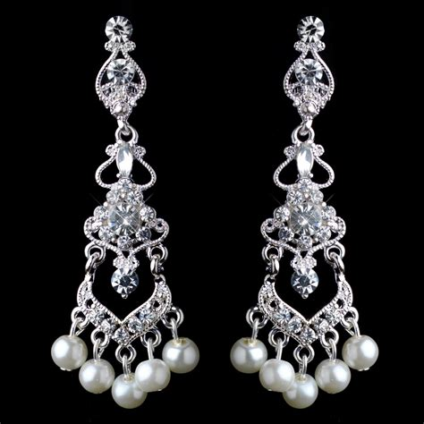 silver white pearl rhinestone chandelier clip on