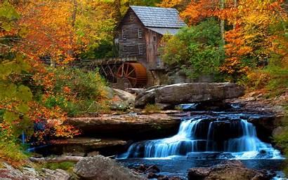 Water Mill Desktop Waterfall Flow Wooden Rock