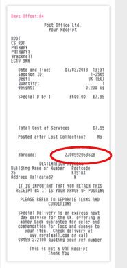 usps receipt number