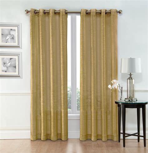 sheer window curtain grommet panels width 54 quot x 84 quot gold