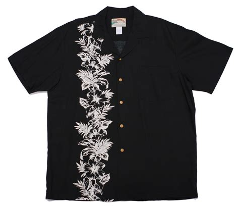 Paradise Found Hawaiian Shirt   Hibiscus Panel Black