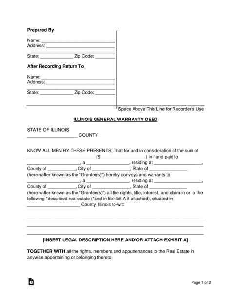 illinois general statutory warranty deed form