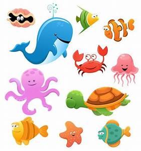 Animales marinos cartoon - Imagen vectorial de una ...
