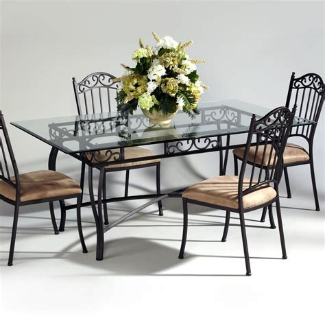 chintaly imports wrought iron and glass rectangular dining