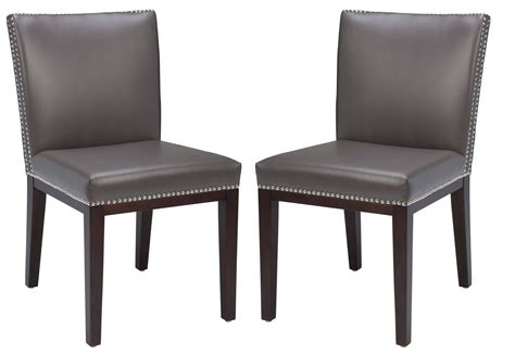 vintage leather grey dining chair set of 2 from sunpan