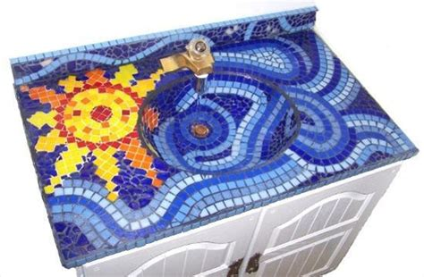 beautiful bathroom sinks decorated  mosaic tiles