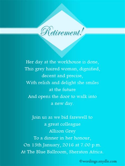 retirement party invitation wording ideas  samples