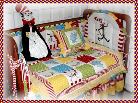 dr seuss baby bedding dr seuss cat in the hat fabric crib bedding set by