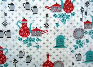 Turquoise and Red Kitchen Curtains