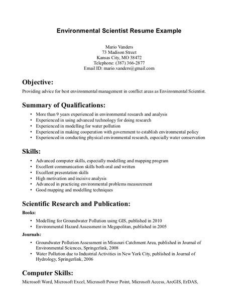 environmental science resume sle http www