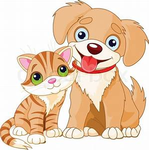 Cute dog and cat are sitting | Stock Vector | Colourbox