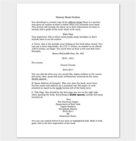 History Resume Tips by History Book Outline Exle Outline Templates Create