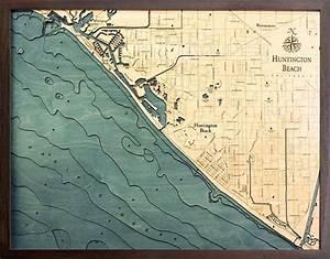 Custom Wood Charts Of Huntington Beach From Carved Lake