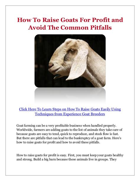 how to raise goats how to raise goats for profit and avoid the common pitfalls