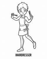 Hairdresser Coloring Colorare Parrucchiere Libro Friseur Barber Cartoon Illustrazione Child Pettine Ragazza Capelli Oggetti Messo Vettore Gli Dei Ha Parrucchiera sketch template