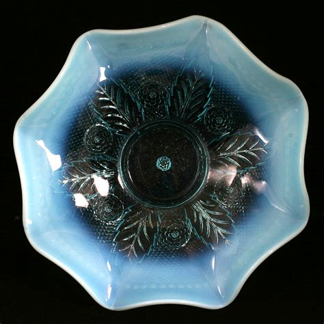 northwood netted roses blue opalescent antique glass bowl