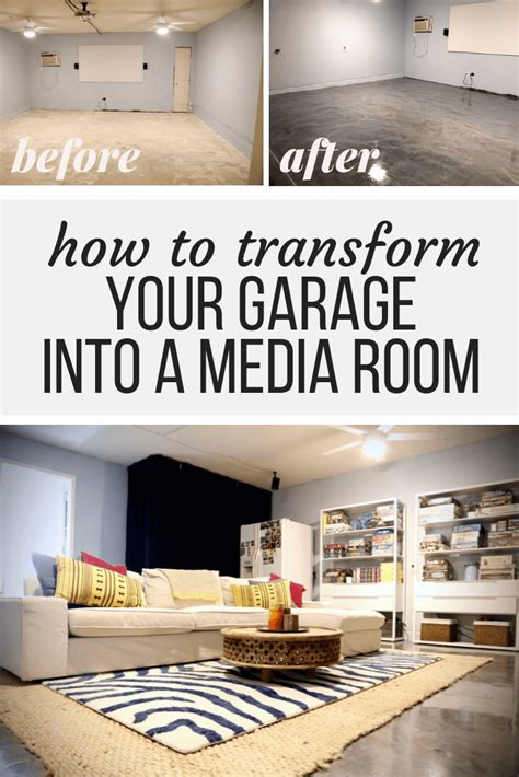 turn  plain garage   gorgeouscozy media room