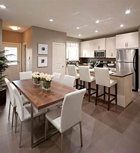 la cuisine ouverte sur la salle a manger 55 photos With salle À manger contemporaine avec sol gris cuisine