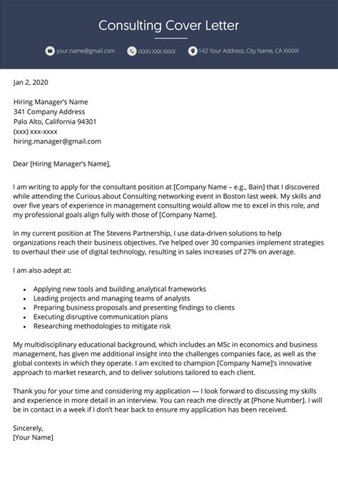 Sample motivation letter for masters degree in engineering. Consulting Cover Letter   Example and Writing Tips