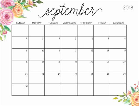 September 2018 Calendar Cute September 2018 Planning ...