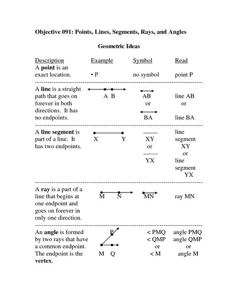 points worksheet 9 best images of worksheet identifying line segments rays