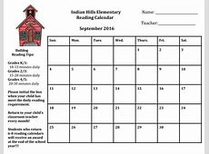 Monthly Reading Calendars 5th Grade Indian Hills Elementary