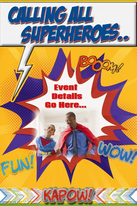 superhero party event invitation template poster flyer