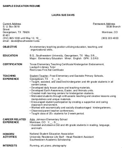 Resume Objective Sle For Teachers by Resume Objective 6 Exle In Word Pdf