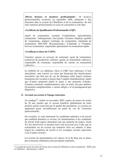 rapport de stage cuisine rapport marcon l 39 alternance dans le secteur de la