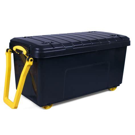 black large  plastic wheeled trunk