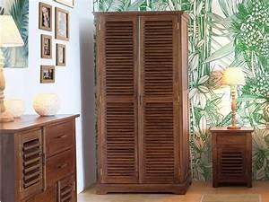Grande Armoire Dressing : grande armoire bali ii 1 penderie 2 tiroirs teck massif ~ Teatrodelosmanantiales.com Idées de Décoration