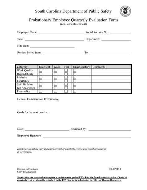Employee Confirmation Evaluation Form by Employee Quarterly Evaluation Form In Word And Pdf Formats