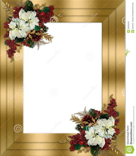 christmas border gold floral stock images image