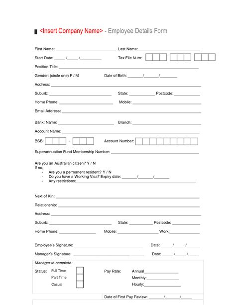 Staff Cv Template by New Hire Employee Details Form Template Sle Vlashed
