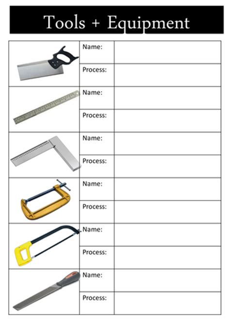 year 7 woodwork worksheets tools health safety in the workshop worksheet by