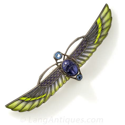 silver plique  jour egyptian revival winged scarab brooch