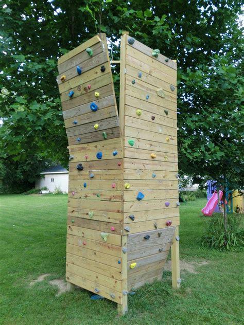finished  backyard bouldering wall  set