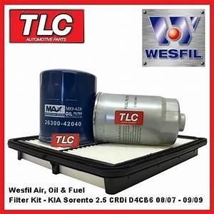 Wesfil Air Oil Fuel Filter Kit Kia Sorento Bl 2 5 Diesel