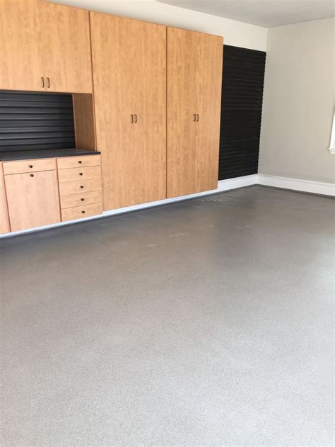 garage floor paint vapor barrier 1 32 quot dakota flake blend full broadcast on gray epoxy vapor barrier finished with two coats of