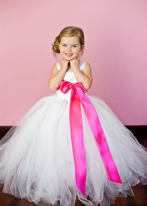 white  hot pink flower girl tutu dresses tu tu dress