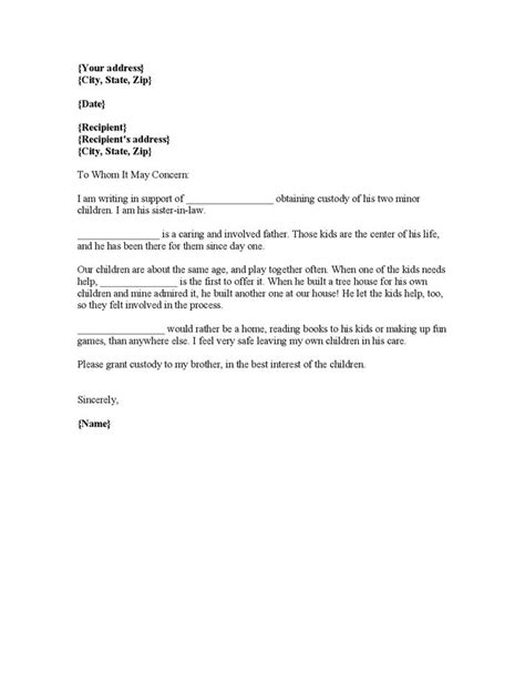 Sample character reference letter for court child custody
