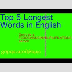 Top 5 Longest Words In English Youtube