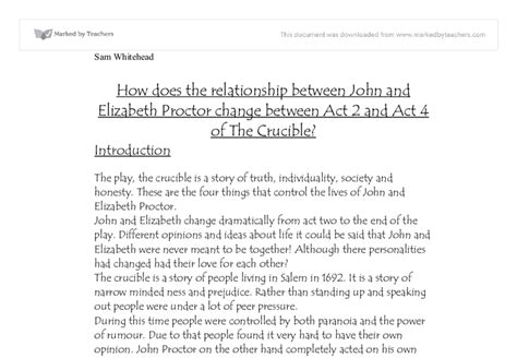 How Does The Relationship Between John And Elizabeth