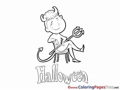 Devil Coloring Pages Chair Sitting Halloween Sheet