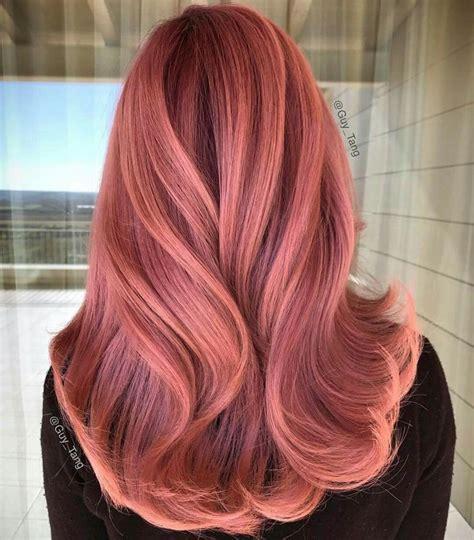 rose gold hair ideas  pinterest rose hair color rose hair  rose gold balayage