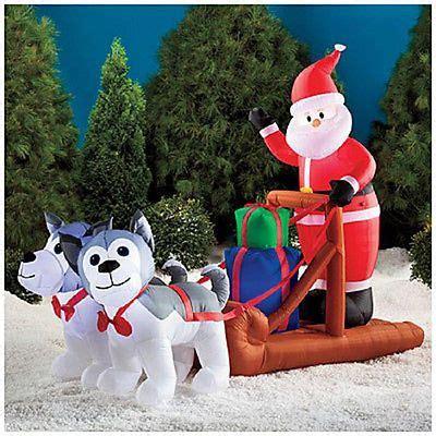 santa sleigh  huskies christmas inflatable